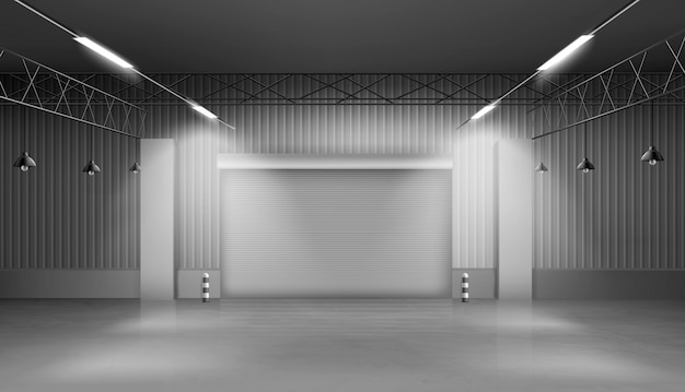 Entrepôt vide, intérieur de l'entrepôt, usine