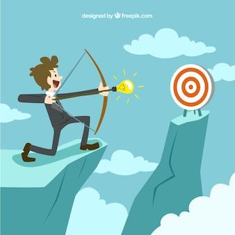 Entrepreneur en essayant de toucher la cible