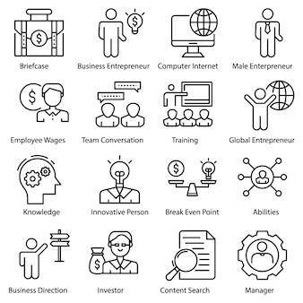 Entrepreneur icons set
