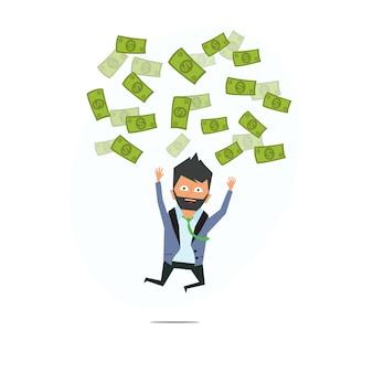 Entrepreneur prospère. pluie d'argent. un homme d'affaires qui réussit. l'argent du ciel.