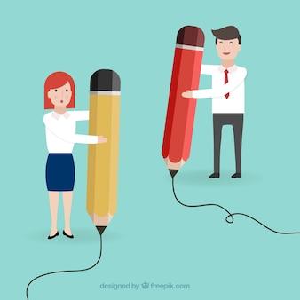 Entrepreneurs avec de grands crayons