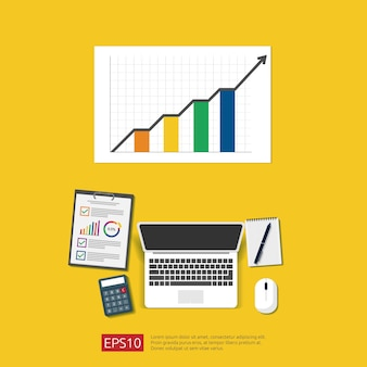 Entreprise d'analyse financière, statistique financière et concept de gestion. vue de dessus de bureau en milieu de travail avec document agrandi, ordinateur portable et rapport. illustration de style plat.