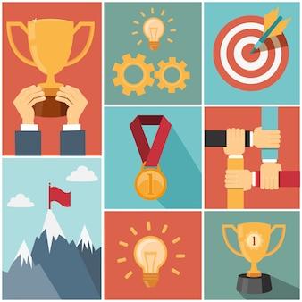 Entreprise atteignant l'objectif, illustrations vectorielles de succès concept