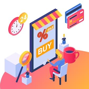 Entreprise de boutique en ligne, illustration. acheter dans le commerce en ligne, caractère client de l'homme dans l'isométrie de la technologie mobile