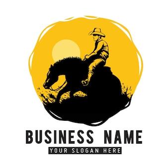 Entreprise de conception de logo de cheval reiner classique, modèle de logo reiner