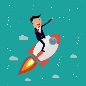 Entreprise en démarrage. homme d'affaires sur une fusée.