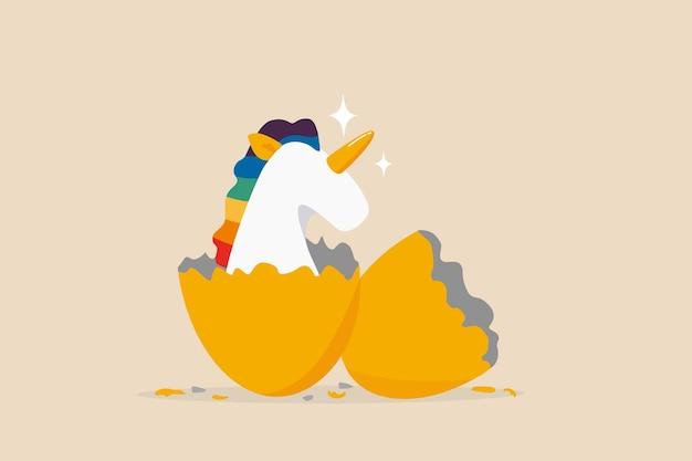 Entreprise de démarrage de licorne, capital-risque pour financer une petite entreprise pour réussir dans la compétition commerciale mondiale, commencer ou démarrer un nouveau concept d'entreprise, précieuse licorne avec arc-en-ciel vient d'éclore de l'œuf d'or.