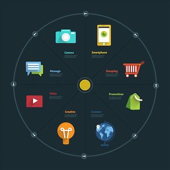 Entreprise D'élément Infographique Et Icône Connecte Le Style De Vie Pour La Mise En Page Ou Le Graphique Vecteur Premium