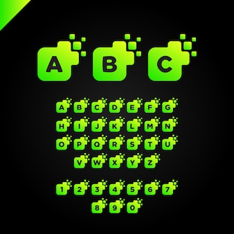 Entreprise entreprise lettre carrée vecteur de police logo design. modèle d'alphabet lettre numérique coloré pour la technologie. logotype pixel