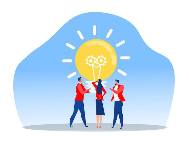 L'entreprise d'équipe consulte le concept d'innovation et de réflexion sur le modèle. nouvelle idée nouvelle idée