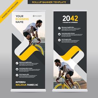 Entreprise de fond de ville roll up design template.flag banner design. peut être adapté à la brochure, rapport annuel, magazine, affiche, présentation d'entreprise, flyer, site web