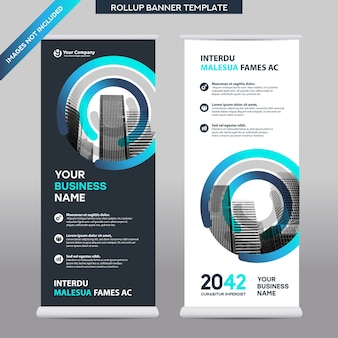 Entreprise de fond de ville roll up design template.flag banner design.
