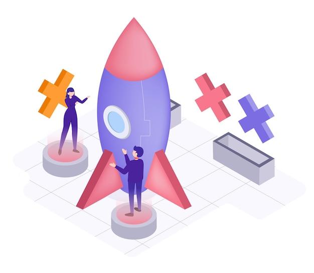 Une entreprise en forme de fusée pour l'ère du commerce sans frontières, illustration isométrique