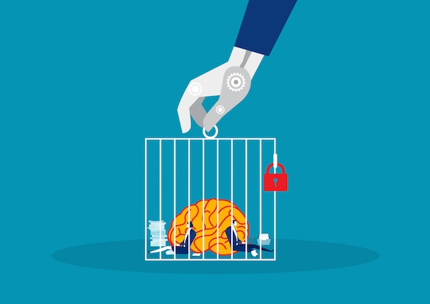 Entreprise avec gros cerveau travaillant dur dans la cage