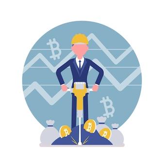 Entreprise de l'homme minig bitcoin