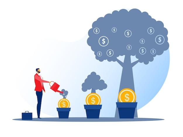Entreprise d'illustrateur arrosant l'arbre d'argent, financement des investissements, financement de la croissance