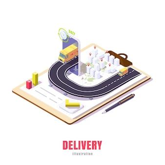 Entreprise d'illustration low poly de livraison de marchandises en ligne via l'application dans la ville et dans le monde.