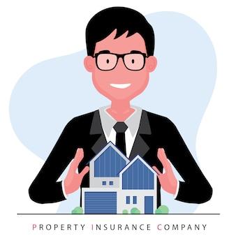 Entreprise immobilière mettant en vedette un courtier ou un agent immobilier offrant une maison en se tenant derrière un modèle de propriété