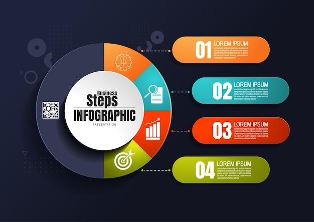 Entreprise d'infographie, modèle de conception de diagramme de processus pour la présentation, éléments de chronologie abstraite.