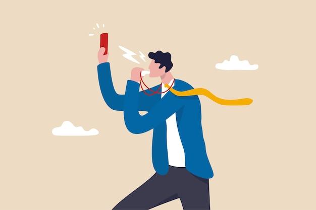 Entreprise interdite, violation ou enfreinte à la règle, pénalité, juge ou punition cause d'un échec ou d'un problème, homme d'affaires sifflant montrant un carton rouge pour interdire ou arrêter l'employé mal ou corrompu