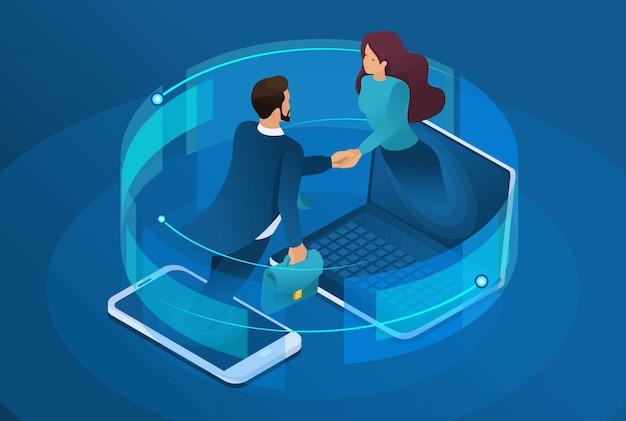 Entreprise isométrique, collaboration mondiale en ligne entre grandes entreprises.