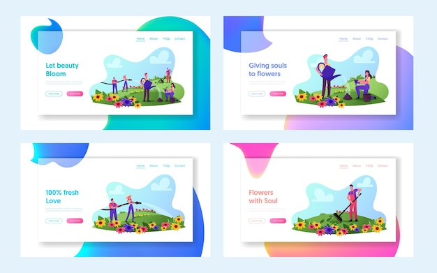 Entreprise de jardinage, ensemble de modèles de pages d'atterrissage pour activités de plein air. personnages de jardinier en salopette de travail soin des fleurs sur le terrain ratisser, arroser, planter des germes. illustration vectorielle de gens de dessin animé