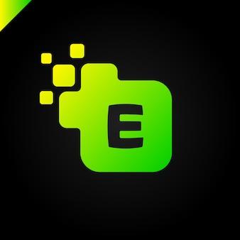 Entreprise lettre carrée e vecteur de conception de logo de polices. modèle d'alphabet lettre numérique coloré pour la technologie. logotype pixel