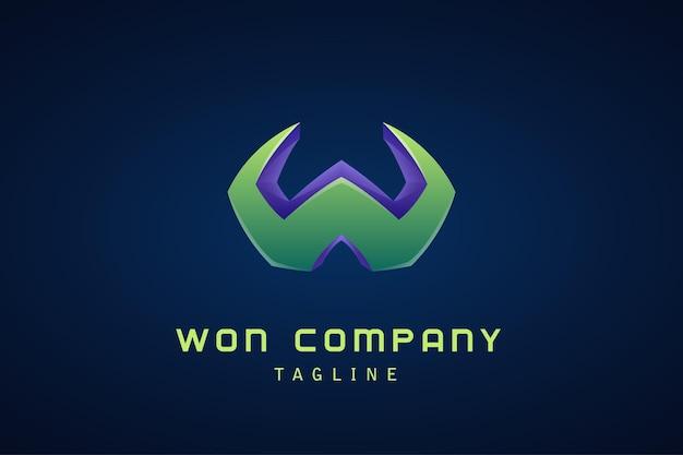 Entreprise de logo dégradé vert violet lettre w