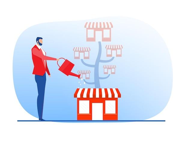 Entreprise de magasin de franchise avec arbre de croissance