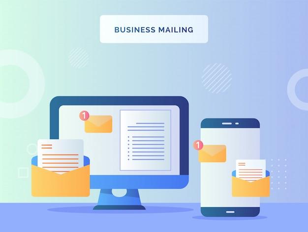 Entreprise mailing concept de notification de texte signe sur ordinateur moniteur téléphone intelligent à proximité avec style plat.