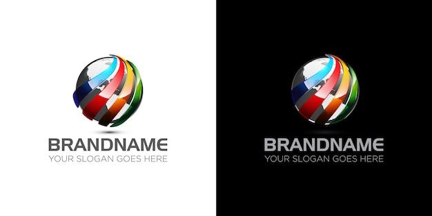 Entreprise mondiale de modèle de logo de sphère colorée