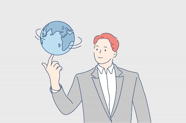 Entreprise mondiale, réseau, concept de communication mondiale