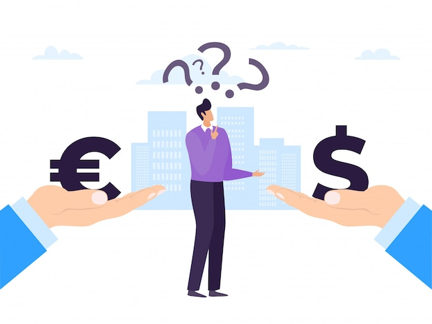 Entreprise monnaie euro et dollar, illustration. finance l'argent bancaire, échange le concept de trésorerie. personnage homme