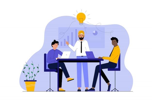 Entreprise multiethnicité, concept de réunion de coworking de travail d'équipe idée.