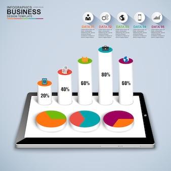 Entreprise numérique 3d abstraite flèche infographique