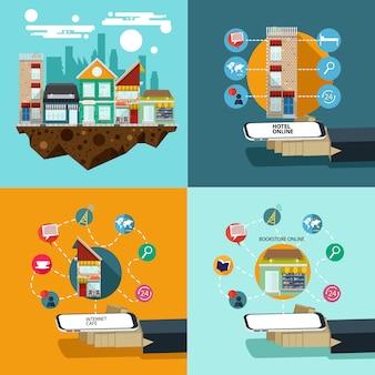 Entreprise de partage emplacement e-commerce design plat