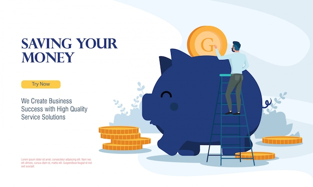 Entreprise prospère, économiser de l'argent avec le concept de design plat