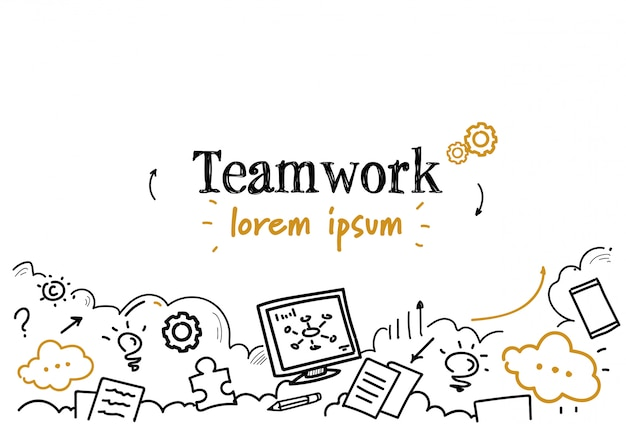 Entreprise réussie stratégie travail d'équipe esquisse doodle fond isolé