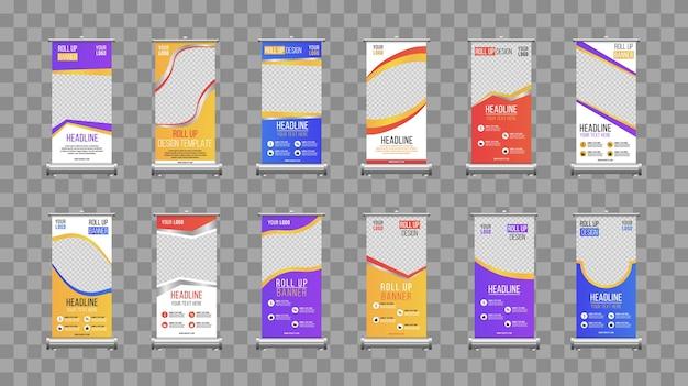 Entreprise roll up banner conception de modèle vertical.