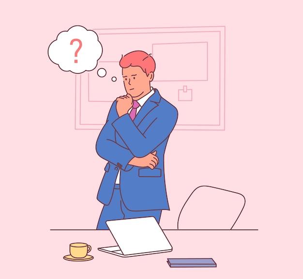 Entreprise, travail, succès, pensée, concept de problème. homme d'affaires pensif avec des bulles de pensée au-dessus. appartement