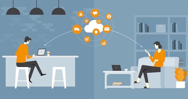 Entreprise de vecteur plat intelligent travaillant et travaillant en ligne tout concept de lieu de travail