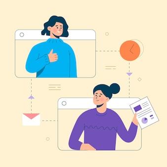 Entreprise de vecteur plat travail intelligent et travaillant en ligne tout concept de lieu de travail