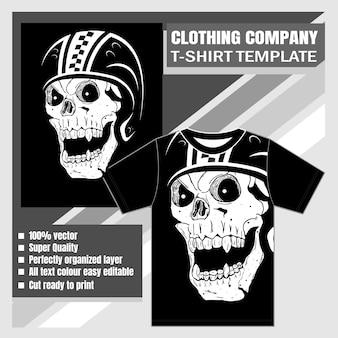 Entreprise de vêtements, modèle de t-shirt, crâne portant un casque