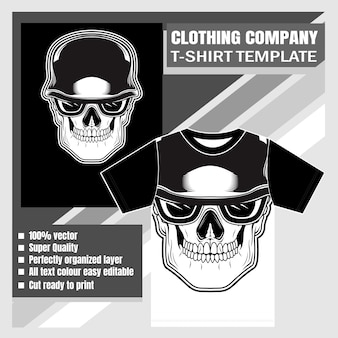 Entreprise de vêtements, modèle de t-shirt, dessin de la main du crâne
