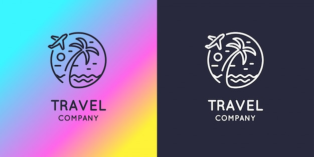 Entreprise de voyage logo lumineux moderne. illustration.