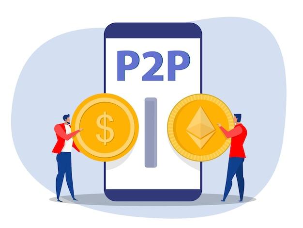 Les entreprises échangent de l'argent contre des paiements peer to peer transaction virtuelle de crypto-monnaie