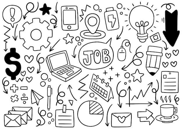 Entreprises élémentaires de doodle dessinés à la main