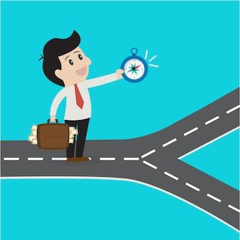 Entreprises utilisant une boussole en choisissant le moyen de réussir.