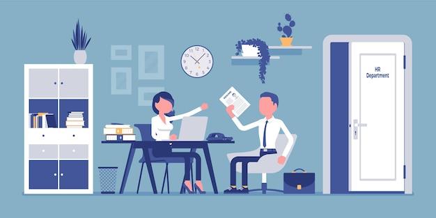 Entretien de bureau des ressources humaines parler avec le demandeur d'emploi