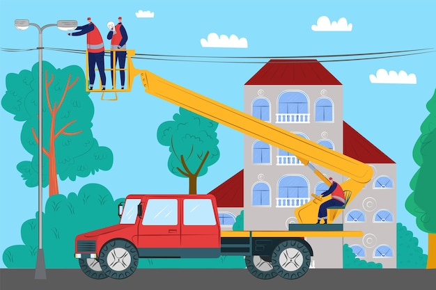 Entretien d'électricien à la rue, illustration vectorielle. service de réparation électrique, personnage de travailleur professionnel mis en lumière dans la rue.